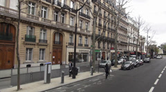 Typical street view in the city of Paris Stock Footage