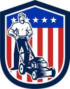 Gardener mowing lawn mower flag retro Stock Illustration