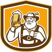 bavarian beer drinker mug shield retro - stock illustration