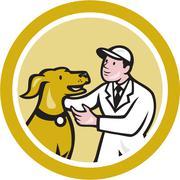veterinarian vet kneeling beside pet dog circle cartoon - stock illustration