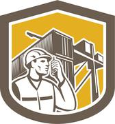 dock worker on phone container yard shield - stock illustration