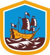 sailing ship galleon crest retro woodcut - stock illustration