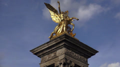 Golden statue on Pont Alexandre in Paris - stock footage