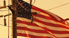 America's Energy Crisis with Slow Motion Flag - stock footage