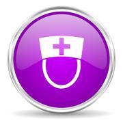 violet - silver circle web icon - stock illustration