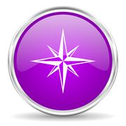 violet - silver circle web icon - stock illustration