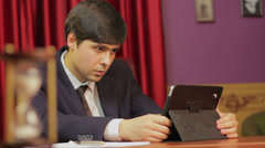 Businessman working in office, successful career, hasty life Stock Footage