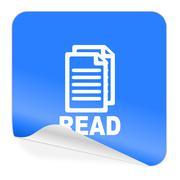 read blue sticker icon - stock illustration