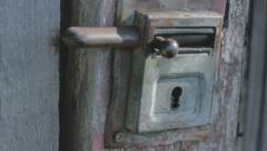Revealing Rusty Metal Shed Lock - 29,97FPS NTSC Stock Footage