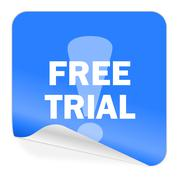 Free trial blue sticker icon. Stock Illustration