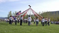 School kids May Pole dance fast HD 0298 Stock Footage