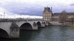 Pont Royale over River Seine in Paris - stock footage