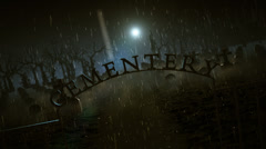 Cemetery sign on a moonlit rainy night Stock Footage