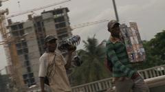 Roadside street sellers / hawkers - stock footage