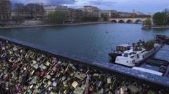 Pont des Arts in Paris Padlocks attached to bridge - stock footage