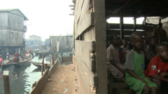 A classroom on and next to water, Makoko floating slum Stock Footage