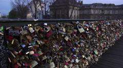 Stock Video Footage of Pont des Arts in Paris Padlocks attached to bridge