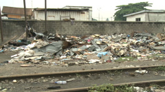 Rubbish piled up beside Railway and slum Stock Footage