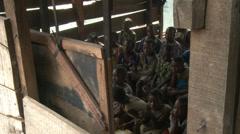 School room, kids, in Makoko floating slum Stock Footage