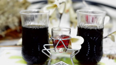 Cold drink wine glass background Stock Footage
