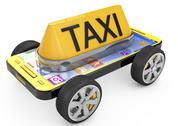Stock Illustration of taxi sign and smartphone on wheels