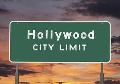 hollywood city limits sign - stock photo