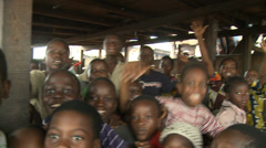 Raucous happy classroom, Makoko floating slum Stock Footage