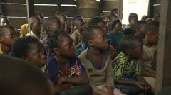 School children, class, Makoko floating slum Stock Footage