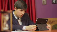 Businessman working in office, successful career, hasty life, click for HD - stock footage