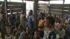 Kids and teacher in shanty school. Makoko Stock Footage