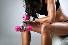 sweaty female body after exercise - stock photo