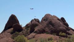 Two aircrafts  on approach to the Phoenix Sky Harbor Airport.  Arizona, USA. Stock Footage