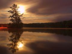 Night view to island with tree above water level. Full moon behind of tree - stock photo