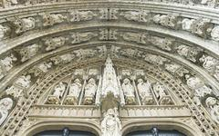 Entrance of Sablon church in Brussels Stock Photos