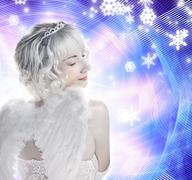 Beautiful angel girl on abstract winter background Stock Illustration