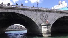 Bridge over River Seine in Paris Stock Footage