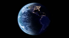 4K Slowly rotating Earth with night lights Stock Footage