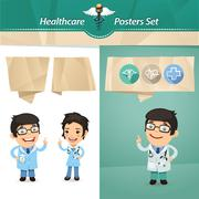 Doctors with Speech Bubbles Set - stock illustration
