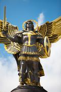 Monument of Angel in Kiev, independence square Stock Photos