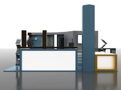 Stock Illustration of Exhibition Stand Interior/Exterior Sample