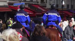 Gendarmerie French police officers on horses Stock Footage