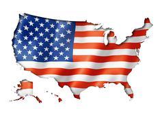 usa flag map - stock illustration