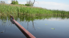 Stock Video Footage of boat floats on lake along long the water green bulrush