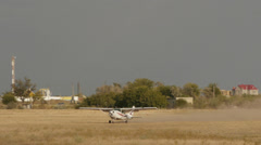White Cessna 182L Skylane takes off Stock Footage