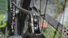 Derailleur and chain of a bicycle, closeup Stock Footage