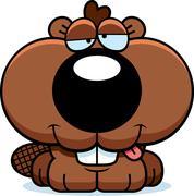 cartoon goofy beaver kit - stock illustration
