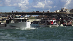 Stock Video Footage of Sightseeing cruises on River Seine in Paris