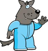 Cartoon wolf pajamas Stock Illustration