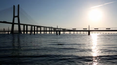 Bridge Vasco da Gama Lisbon Stock Footage