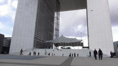 Grand Arche at La Defense Paris Stock Footage